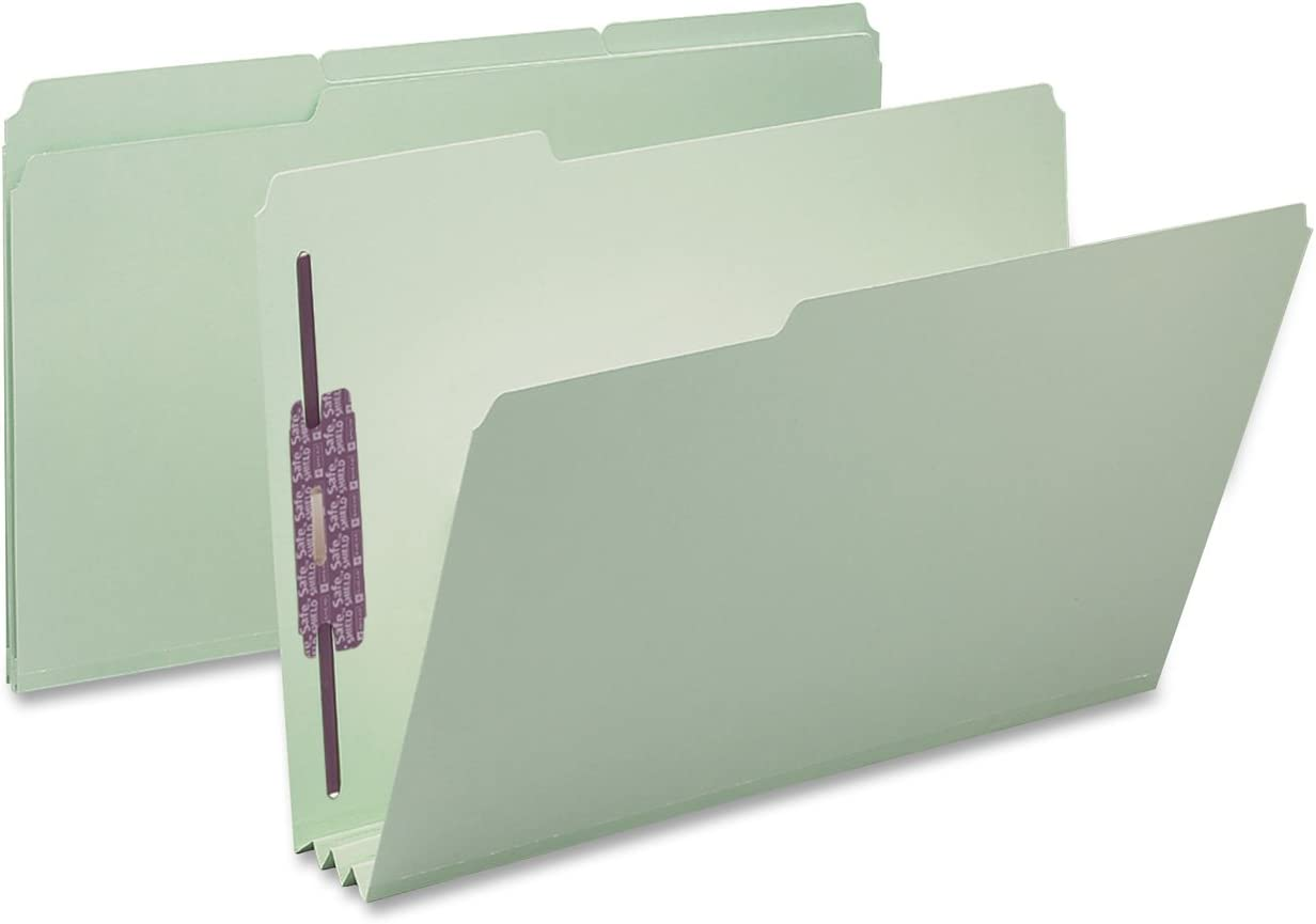 "Smead Pressboard Fastener File Folder with SafeSHIELD Fasteners, 2 Fasteners, 1/3-Cut Tab, 3"" Expansion, Legal Size, Gray/Green, 25 per Box (19944)"