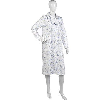 Ladies Slenderella Luxurious Brushed Cotton Nightdress with Collar UK 20 22  White with Blue Flowers  Amazon.co.uk  Clothing 303d4aeb7