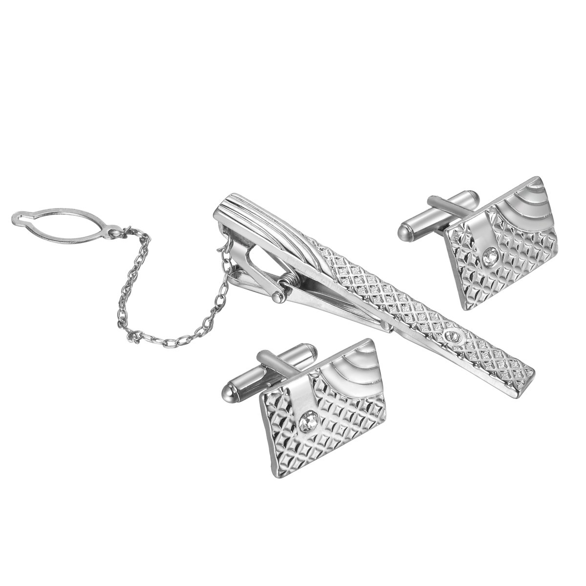 HooAMI Rectangle Grid Mens Fashion Necktie Tie Clip and Cufflink Set,Silver