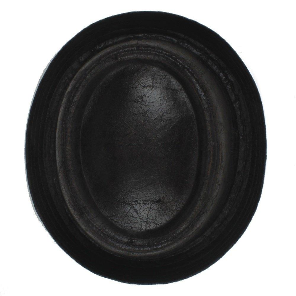 Color : Black, Size : 58-59cm ZLFQQQ Leather Pork Pie Fedora Hat Men Boater Flat Top Hat for Gentleman Bowler Gambler Top Hat Big Size Dropshipping