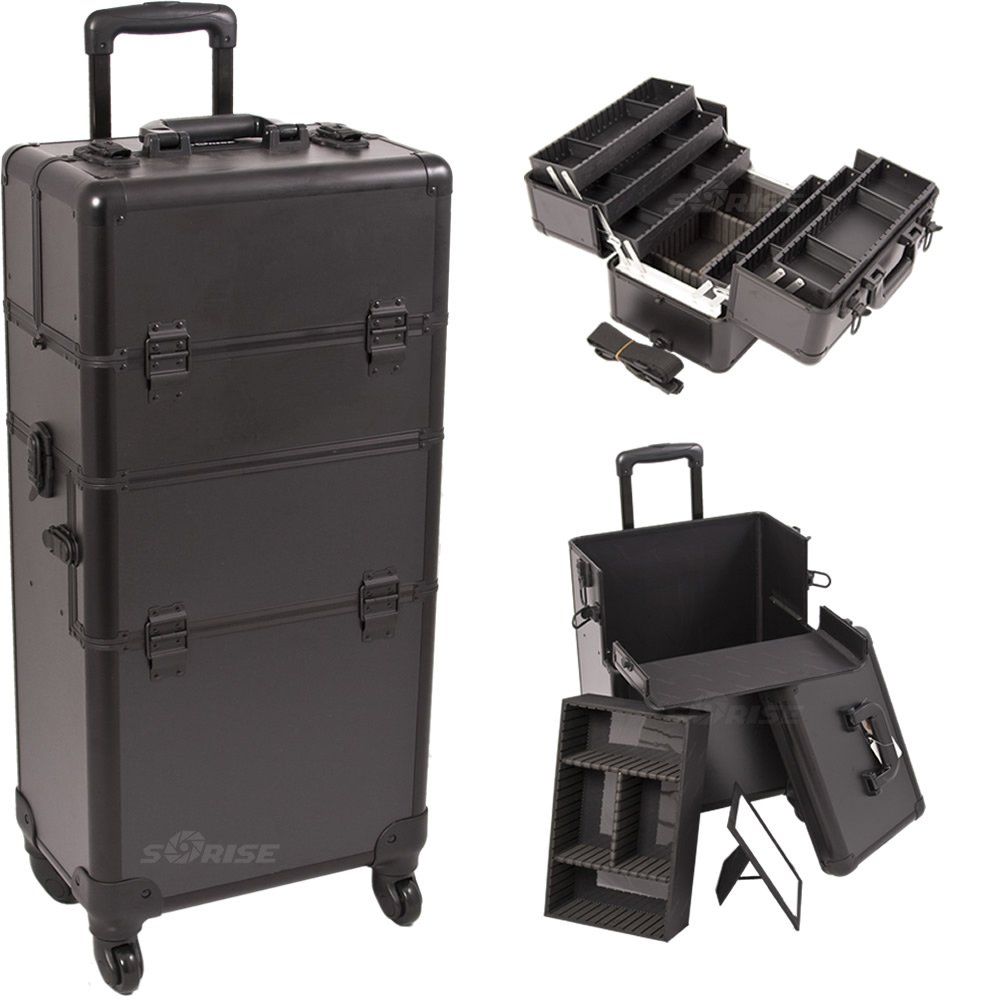 33.5 Inch Pro Black Interchangable Series Cosmetic Train Case Beauty Supply Holder with 4-360 Degree Rotating Wheels Make Up Travel Organizer