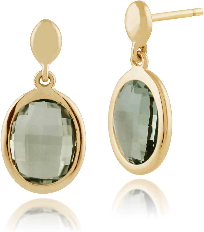 Gemondo 9ct Oro Amarillo 2.4ct Verde Menta Cuarzo Luminosidad Pendientes