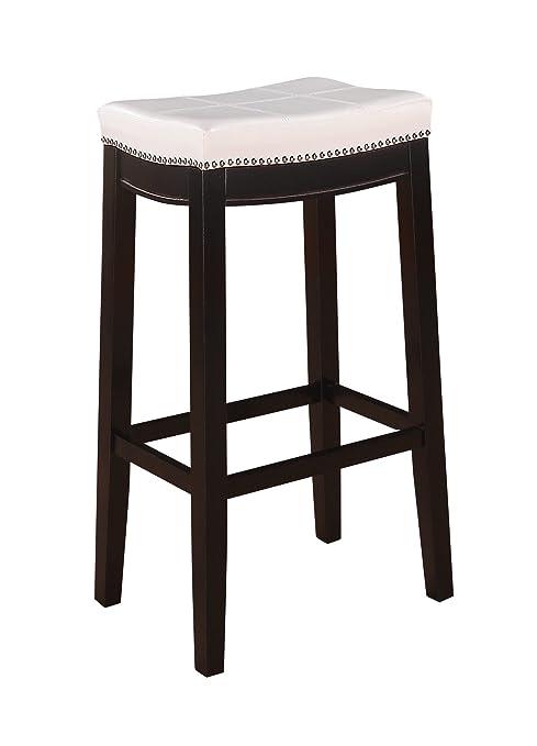Enjoyable Linon 55816Whtpu 01 Kd U 30 Inch White Claridge Patches Bar Stool 32 X 18 75 X 13 25 Dark Brown Andrewgaddart Wooden Chair Designs For Living Room Andrewgaddartcom