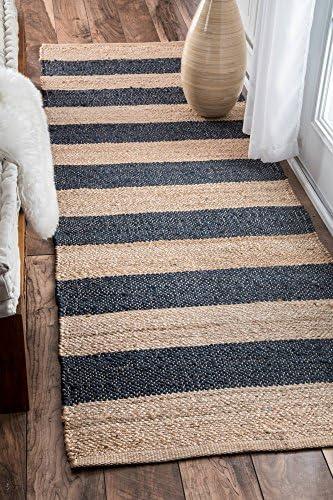 nuLOOM Alisia Flatweave Stripes Jute Runner Rug, 2 6 x 8 , Denim