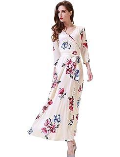 ebb18af1a7c Melynnco Women s 3 4 Sleeve Faux Wrap V Neck Vintage Floral Summer Maxi  Dress