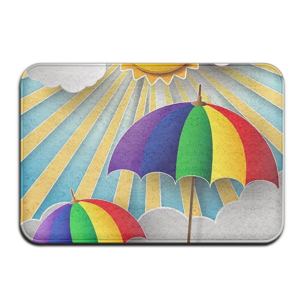 BINGO BAG Weather Rainbow Umbrella Indoor Outdoor Entrance Printed Rug Floor Mats Shoe Scraper Doormat For Bathroom, Kitchen, Balcony, Etc 16 X 24 Inch