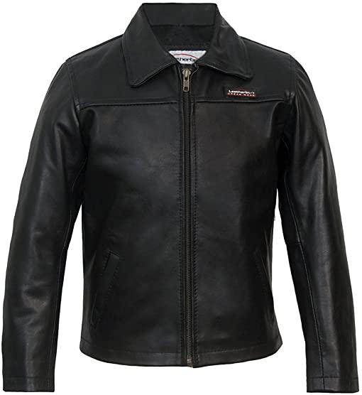 Childrens Black Leather Jacket Classic: Amazon.co.uk: Clothing