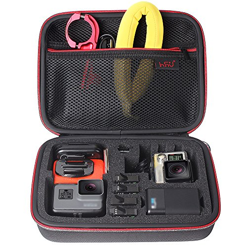 Red Compact Camera Case (Middle Protective Carrying Case By HSU for GoPro Hero 6,5, 4, +LCD, Black, Silver, 3+, 3, 2 and Accessories, Compact and Safe Action Camera Travel Storage Solution for Adventurers (Middle Size Red))
