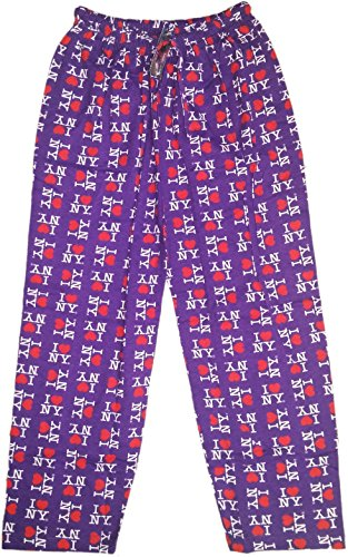 I Love NY Lounge Pants Purple Heart Pajama Novelty Bottoms -
