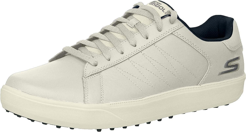 Skechers GO GOLF mens Drive 4 Golf Shoe, White/Navy, 12 US