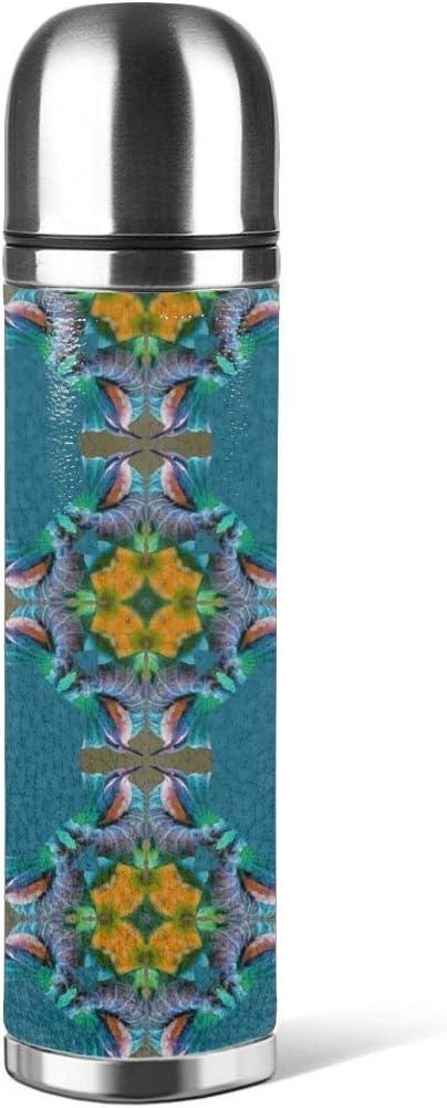 Art Fan-Design Botella de Agua de Acero Inoxidable, diseño de colibrí Azul con Cruz aislada al vacío de Cuero a Prueba de Fugas, contenedor de Viaje de Doble Pared, Termo de 500 ml
