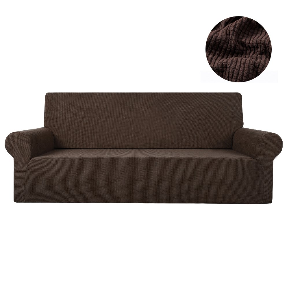 Hootech Jacquard Sofa Cover 1-Piece Polyester Spandex Fabric Couch Slipcover 4 Cushion (Sofa Large, Black)