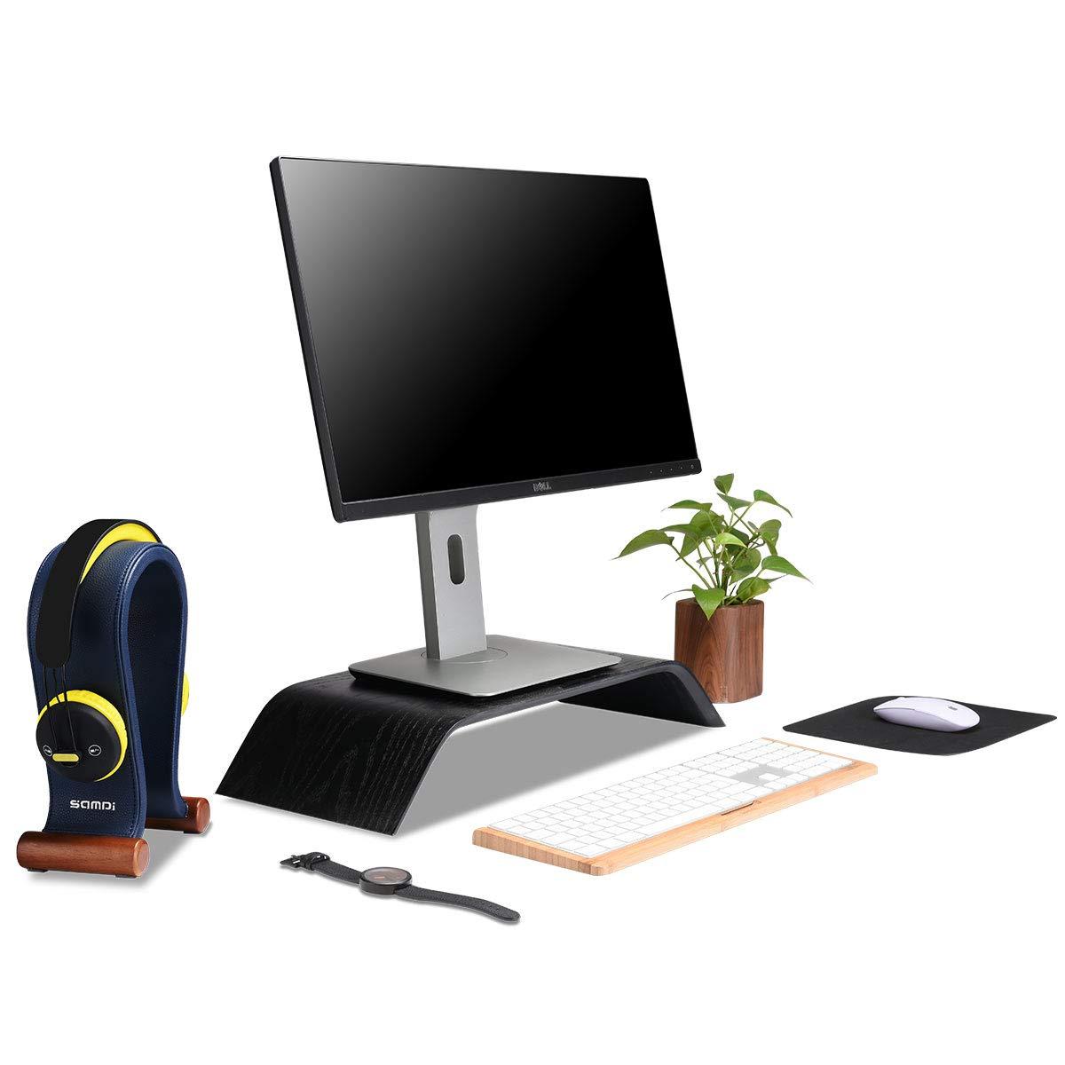 SAMDI Leather Headphone Stand Headset Stand Headphone Holder Universal Gaming Headset Holder Taupe