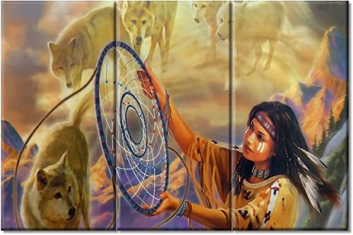 TUMOVO 3 Piece Native American Wall Art Indian Woman Wolves and Dream Catcher Artwork - the best canvas wall art for the money