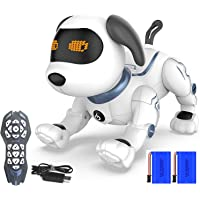 Remote Control Robotic Dog for Kids, HBUDS RC Stunt Programmable Robot Puppy Dog Toys Interactive with Commands Sing, Dance, Barks, Walks Electronic Pet Dog for All Ages Boys and Girls Gifts