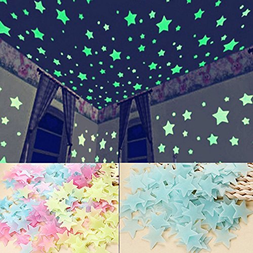 Ceiling stars for kids bedroom and star projector night light planetarium Multicolor stars light your room, so you and your family feel very warm and romanticGlow In The Dark Stars Set ?200pcs)Guang-T