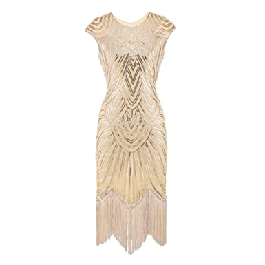 DAYLIN Newest Clearance Women Lady Vintage Daily Tassel Prom Sleeveless Beaded Sequin Art Nouveau Deco Flapper