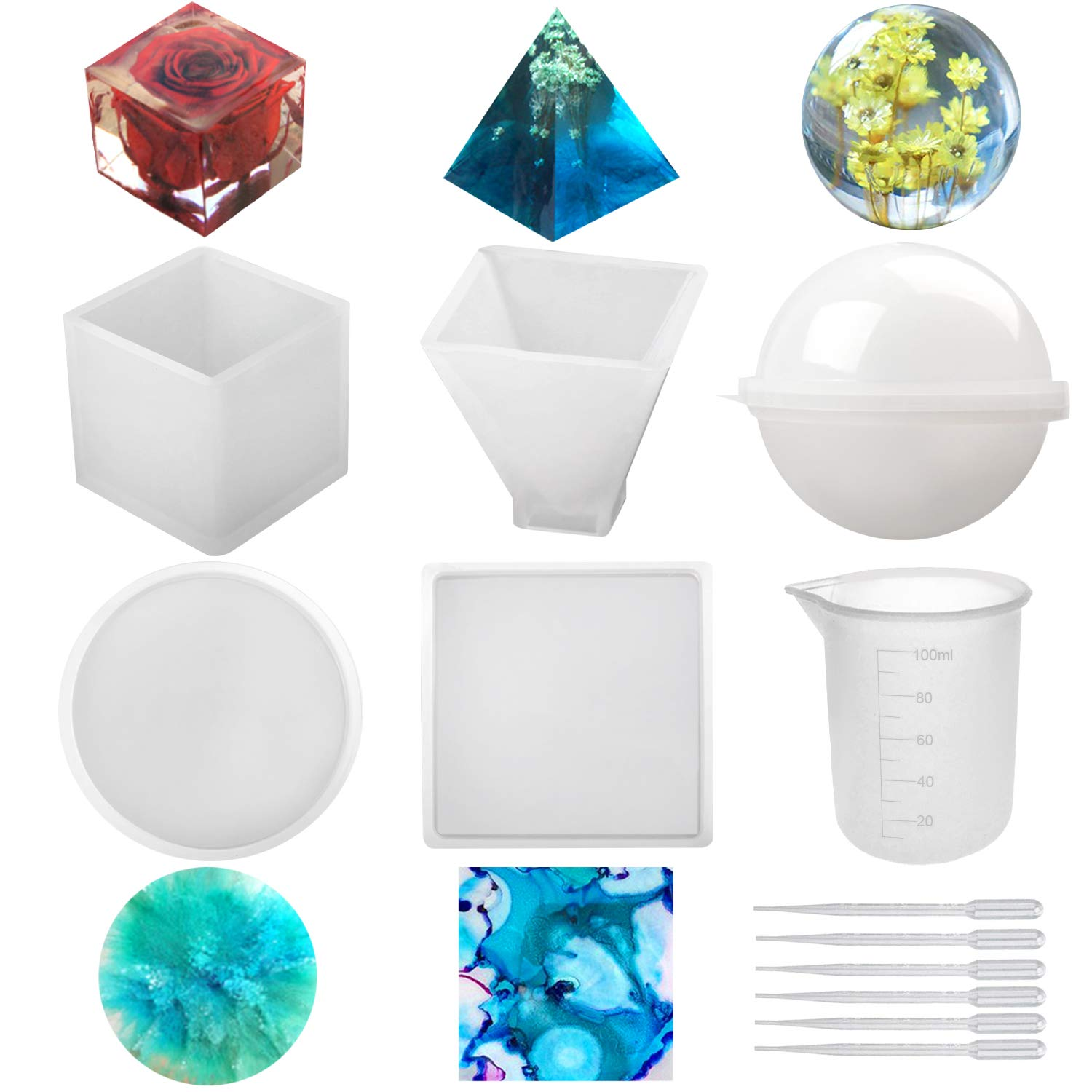 Silicone Resin Molds 5Pcs Resin Casting Molds Including Sphere, Cube, Pyramid, Square, Round with 1 Measuring Cup & 5 Plastic Transfer Pipettes for Resin Epoxy, Candle Wax, Soap, Bowl Mat etc by DANJIA