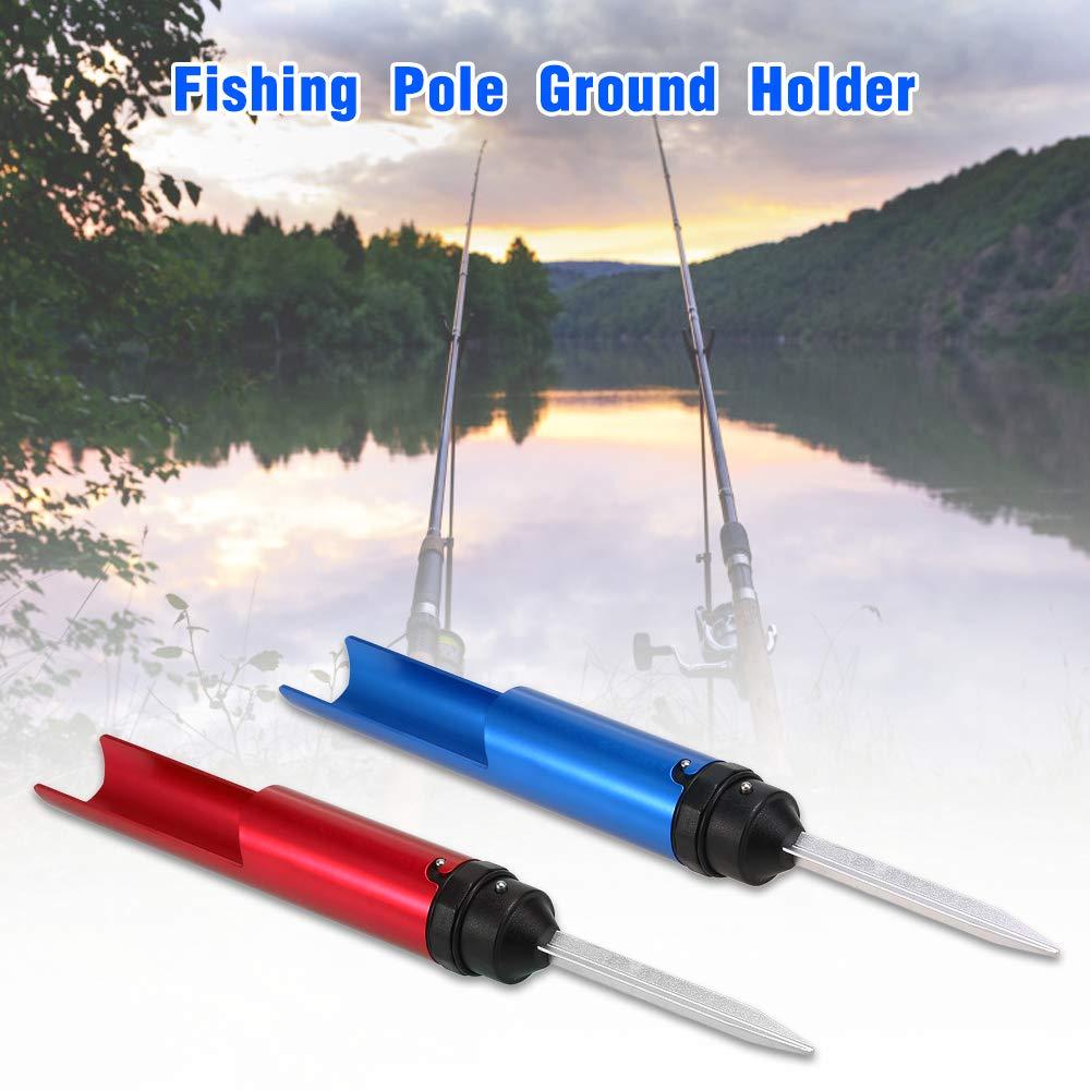 Walmeck Aluminum Fishing Pole Ground Holder Fishing Rod Metal Ground Support Barrel Holder Fishing Accessory