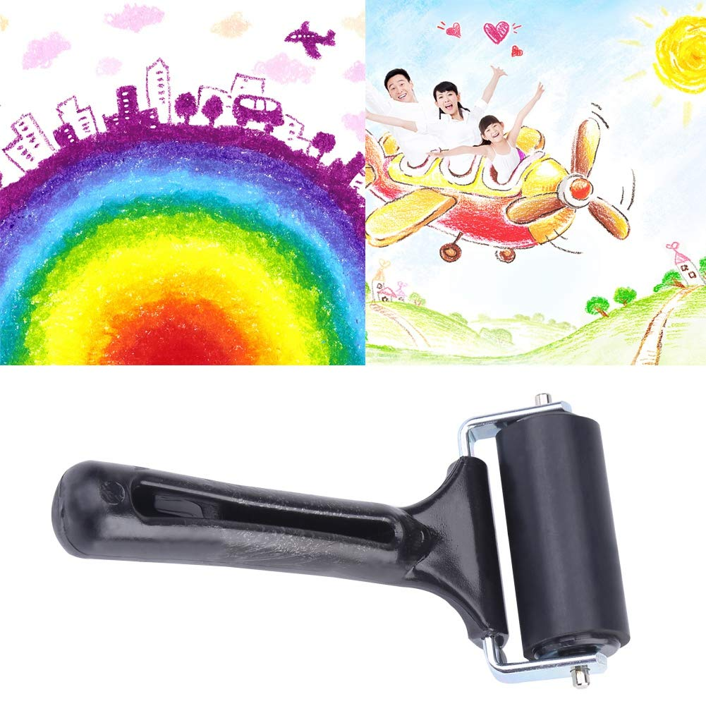 6cm Zerone Rubber Roller 2.36inch Black Non-Slip Rubber Roller Craft Tool for Painting or Embossing