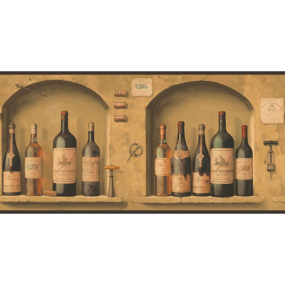 York Wallcoverings NV9652B Border Portfolio II The Wine is Fine Border, Browns