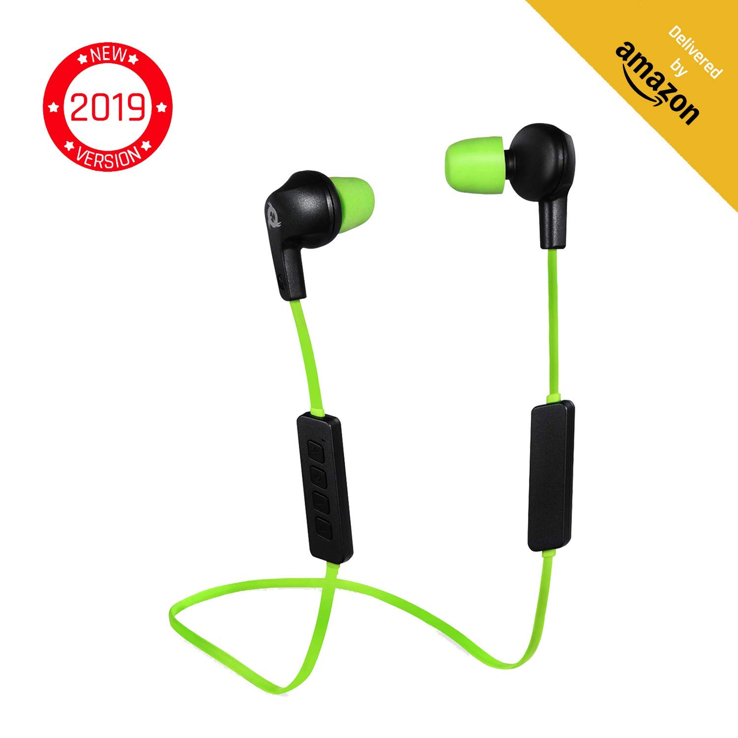 KLIM Pulse Bluetooth Wireless Earbuds Earphones with Microphone New 2019 Version Headphones Noise Reduction Running, Music, Phone Calls, Workout Magnetic Ear Buds Auriculares Audifonos