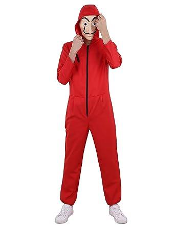 Alvivi Disfraz Halloween Cosplay Unisex Adulto Bodies Mujer Disfraz Costume con Mascara Horror Bodysuit Conjunto Ropa Cosplay Rojo: Amazon.es: Ropa y ...