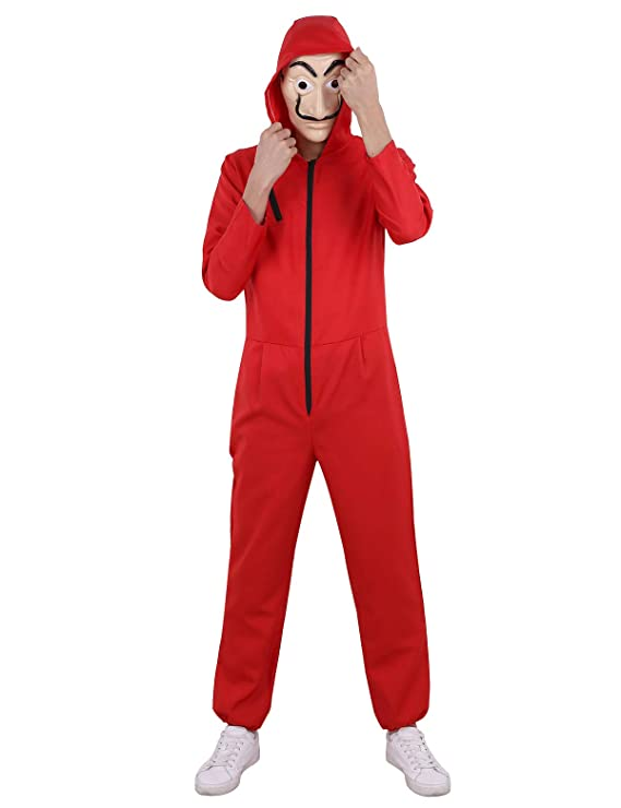 Amazon.com: FEESHOW Unisex Salvador Dali Money Heist The Paper House La Casa De Papel Cosplay Costume Coverall Jumpsuits with Mask: Clothing