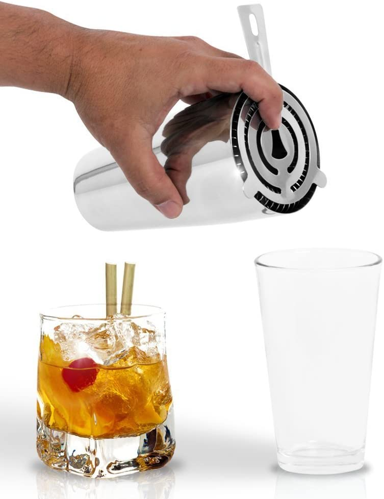 ebook Included // Perfect For Making Mojitos Margaritas /& High Balls Deluxe 3 Piece Martini Boston Shaker Set /& Mixing Glass by Bar Brat /™ // Free 130 Cocktail Recipe