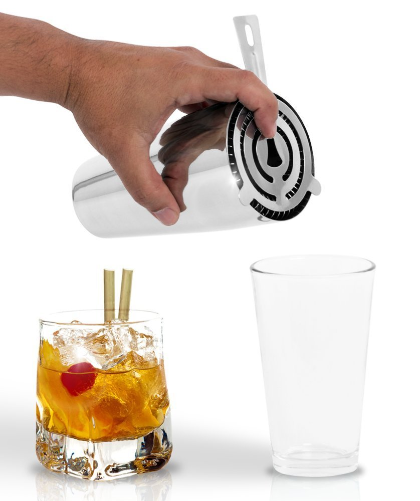 Deluxe 3 Piece Martini Boston Shaker Set & Mixing Glass by Bar Brat ™ / Free 130 Cocktail Recipe (ebook) Included/Perfect For Making Mojitos, Margaritas & High Balls