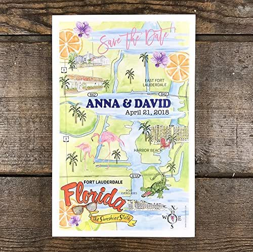 Maps For Wedding Invitations: Amazon.com: Personalized Wedding Maps, Watercolor Wedding