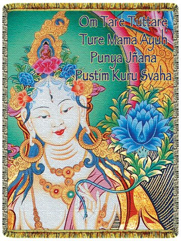 White Tara Mantra Tapestry Throw Blanket