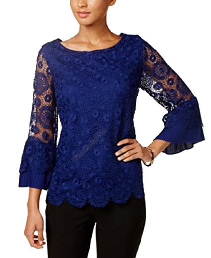 864d1b7b33b Charter Club Bell-Sleeve Lace Top (Bright Sapphire
