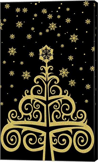 Amazoncom Black Gold Holiday Tree Dbk Art Licensing Canvas Art