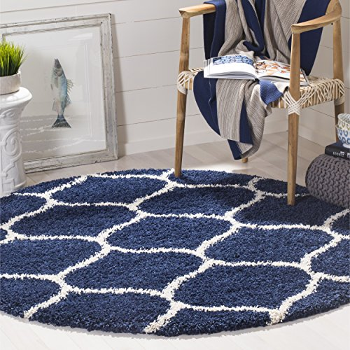 Safavieh Hudson Shag Collection SGH280C Navy and Ivory Moroccan Ogee Plush Round Area Rug (7' Diameter) Safavieh Shag Collection