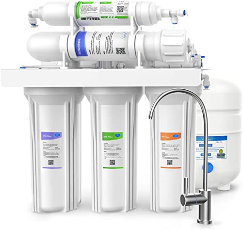 SimPure 100 GPD Reverse Osmosis Water Filter System, Under Sink 5 Stage RO Drinking Water Filtration Purifier, NSF Certified, High Capacity, TDS Reduction, Superb Taste, with Faucet and Tank – T1