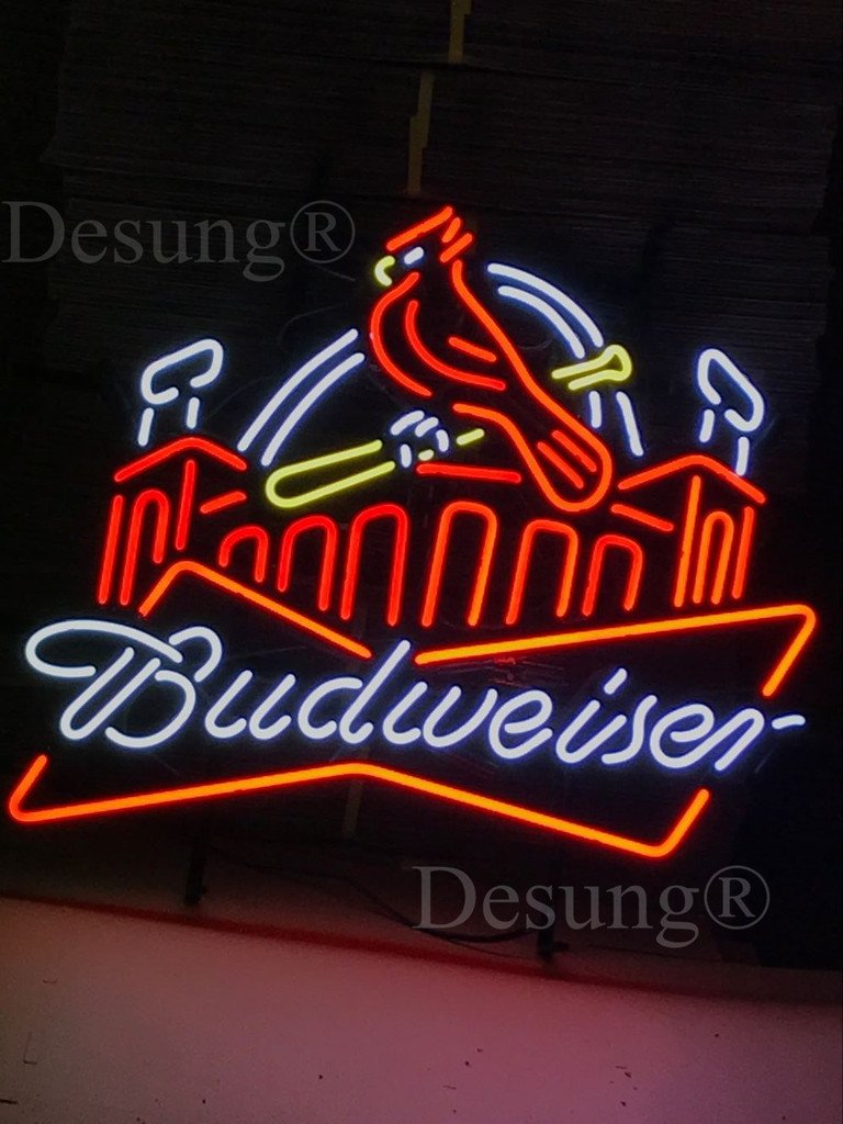 Desung New 24''x20'' St. Louis Sports Team Cardinal Budweisers Beer Neon Sign Man Cave Bar Pub Beer Neon Lamp Real Glass Neon Light DX02