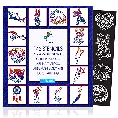 INGALA Premium Stencils Set - 146 Unique Artistic Glitter Tattoo Stencils for Kids, Teens and Adults. Suitable as Henna Tattoo stencils, Airbrush Stencils and Face Painting stencils