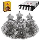 (SET of 6) Turkish Tea Glasses Set Saucers Holders Spoons Decorated (Silver) (Eski)
