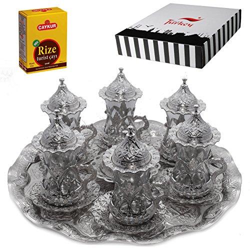 (SET of 6) Turkish Tea Glasses Set Saucers Holders Spoons Decorated (Silver) (Eski) ()