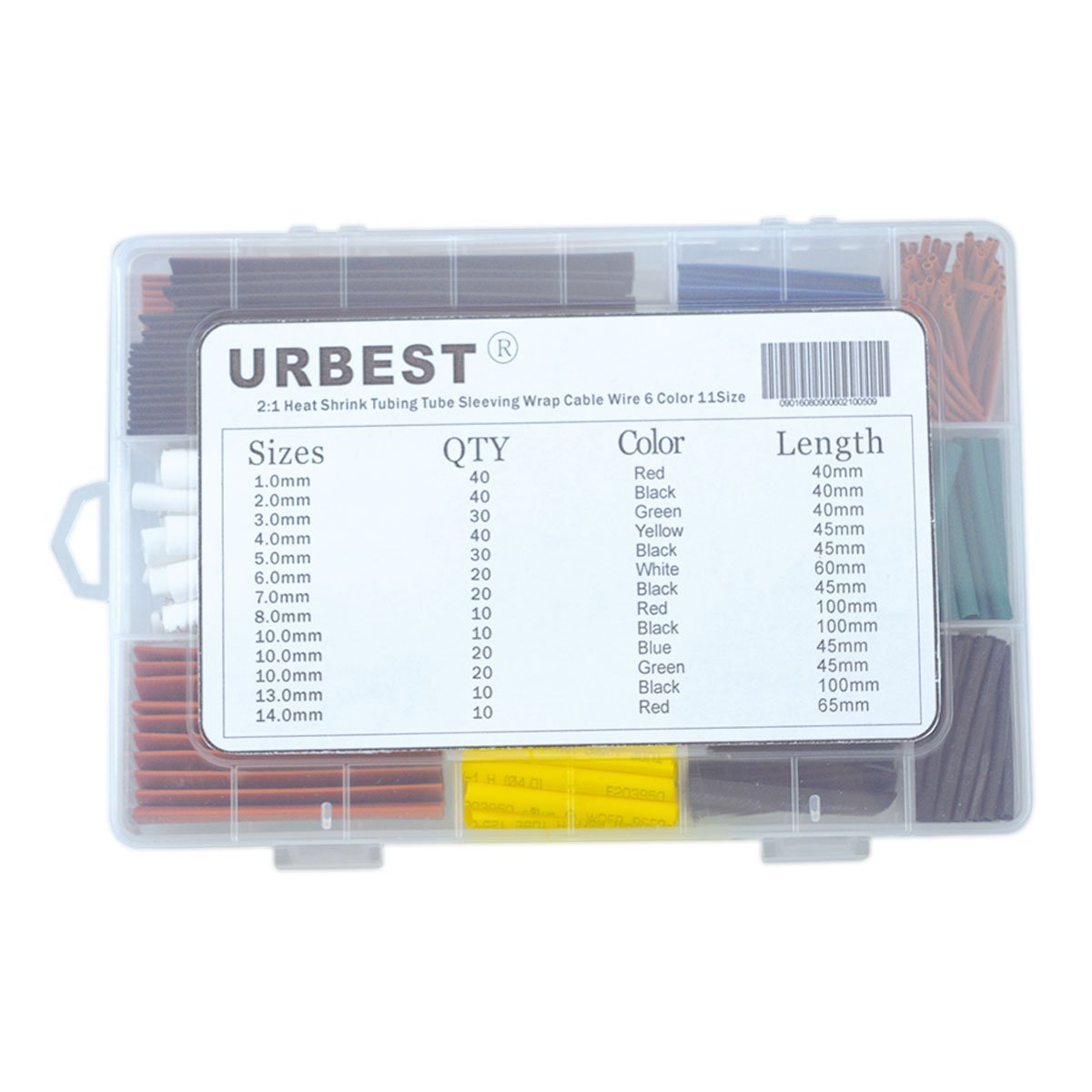 amazoncom urbest 300pcs 21 heat shrink tubing tube sleeving wrap cable wire 6 color 11size home audio u0026 theater