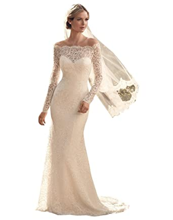 Romantic Vintage Lace Wedding Dresses with Sleeves