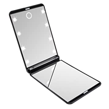 makeup mirror with led lights. hotlife led lighted makeup mirror with 8 dimmable led lights, touch switch travel mirror, lights