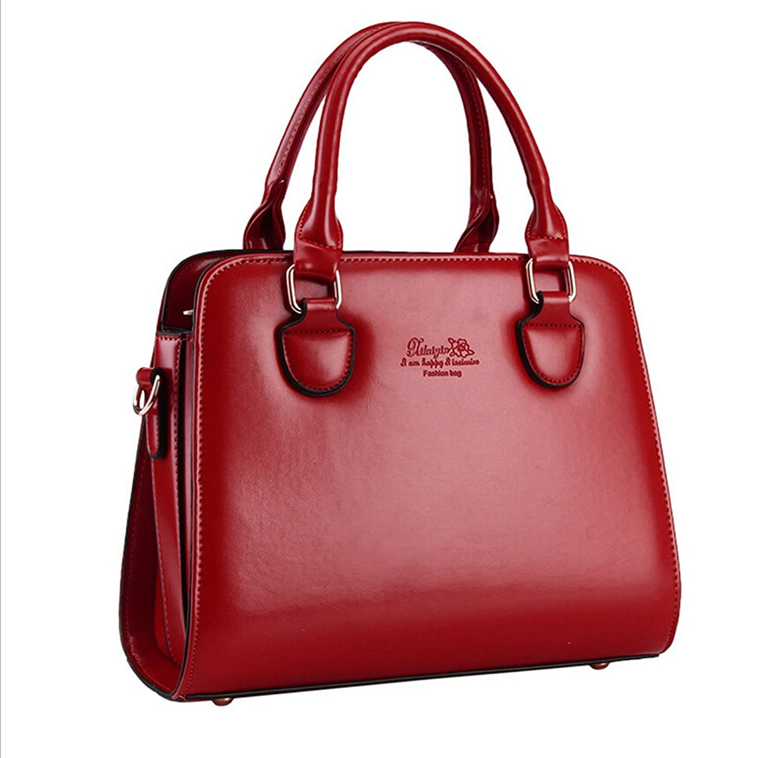 Pahajim Pure Color Pu Leather Shoulder Messenger Bag,wine Red