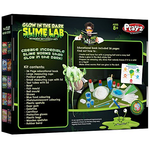 Playz Glow in The Dark Slime Lab Science Kit w/ 19+ Experiments to Make Glowing Dough, Scented Fluffy Slime, Luminescent Blood, Shampoo Slime, & Sticky Fish Through Gooey Science Activities by Playz (Image #1)