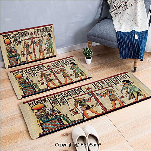 FashSam 3 Piece Flannel Bath Carpet Non Slip Papyrus with Egyptian Ancient Manuscript and Historical Scenery Picture Print Front Door Mats Rugs for Home(W15.7xL23.6 by W19.6xL31.5 by W19.6xL59) ()