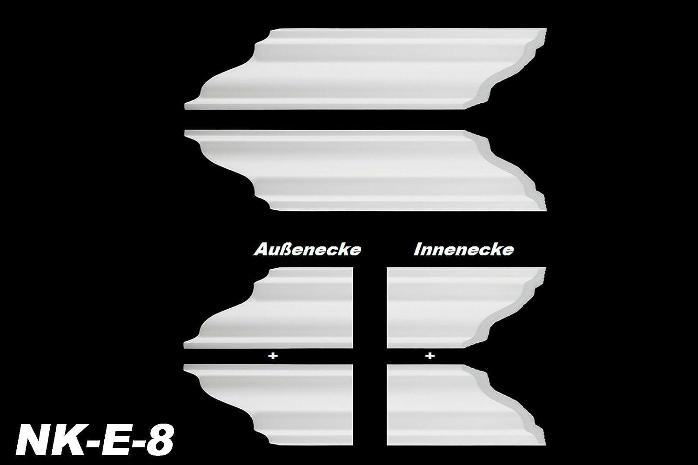 NK-E-26 XPS Innen- und Au/ßenecke Decken-// und Wand/übergang passend zur Leiste E-26 73 x 73 mm extrudiertes Styropor dekorativ modern wei/ß Stuckprofil