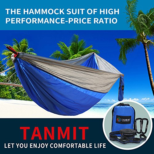 Camping Hammock, Lightweight Portable Garden Double Hammocks – Premium Nylon Parachute Hammock with Tree Straps for Backpacking Travel Beach Yard(5 Colors)