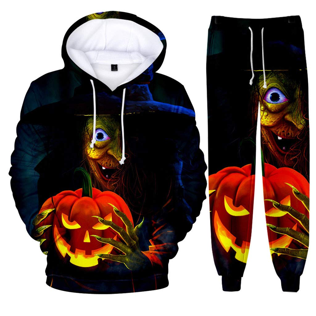 Mens 2 Piece Outfits Long Sleeve Pullover Hooded Sweatshirt 3D Halloween Pumpkin Witch Print Tops Drawstring Joggers Set Casual Workout Tracksuits by Armfre Two-Piece-Outfit
