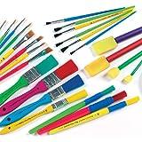 Bumper Paint Brush & Sponge Dabber Value Pack Assorted Shapes & Sizes - Pack of 25